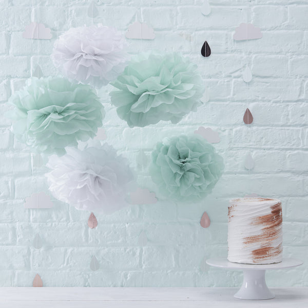 Hello World Mint & White Paper Pom Poms