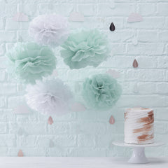 Mint & White Paper Pom Poms Hello World - The Sweet Hostess