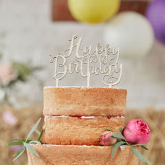 Happy Birthday Wooden Cake Topper - The Sweet Hostess  - 2