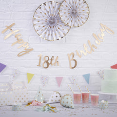 .Gold Happy 18th Birthday Bunting - The Sweet Hostess