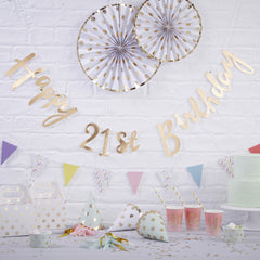 Gold Happy 21st Birthday Bunting - The Sweet Hostess