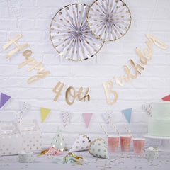 .Gold Happy 40th Birthday Bunting - The Sweet Hostess
