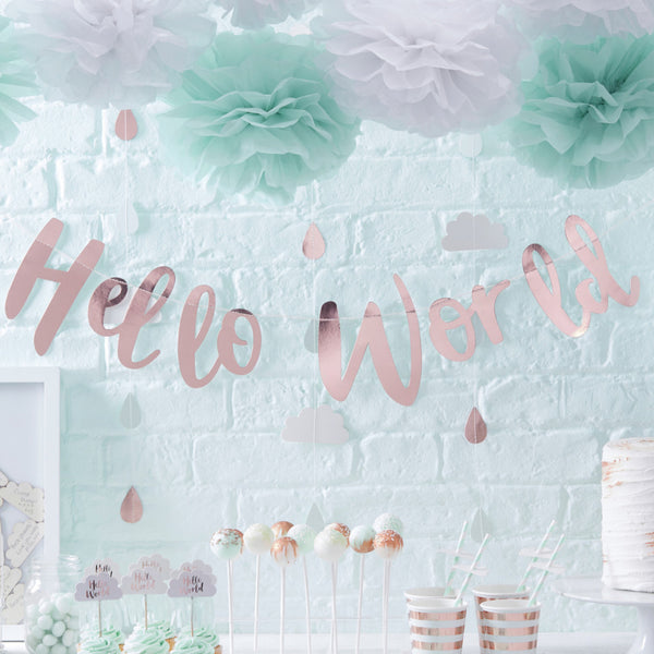 Hello World Rose Gold Baby Shower Banner