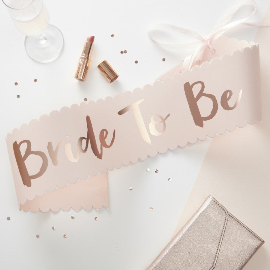 Pink & Rose Gold Bride To Be Sash - The Sweet Hostess  - 1