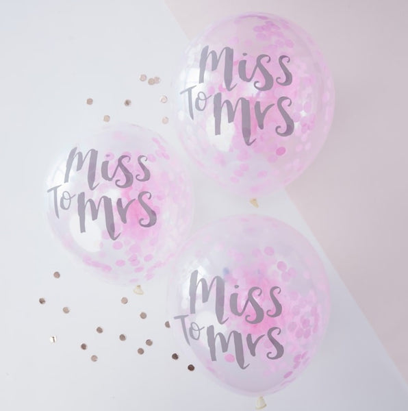 Miss to Mrs Pink Confetti Balloons