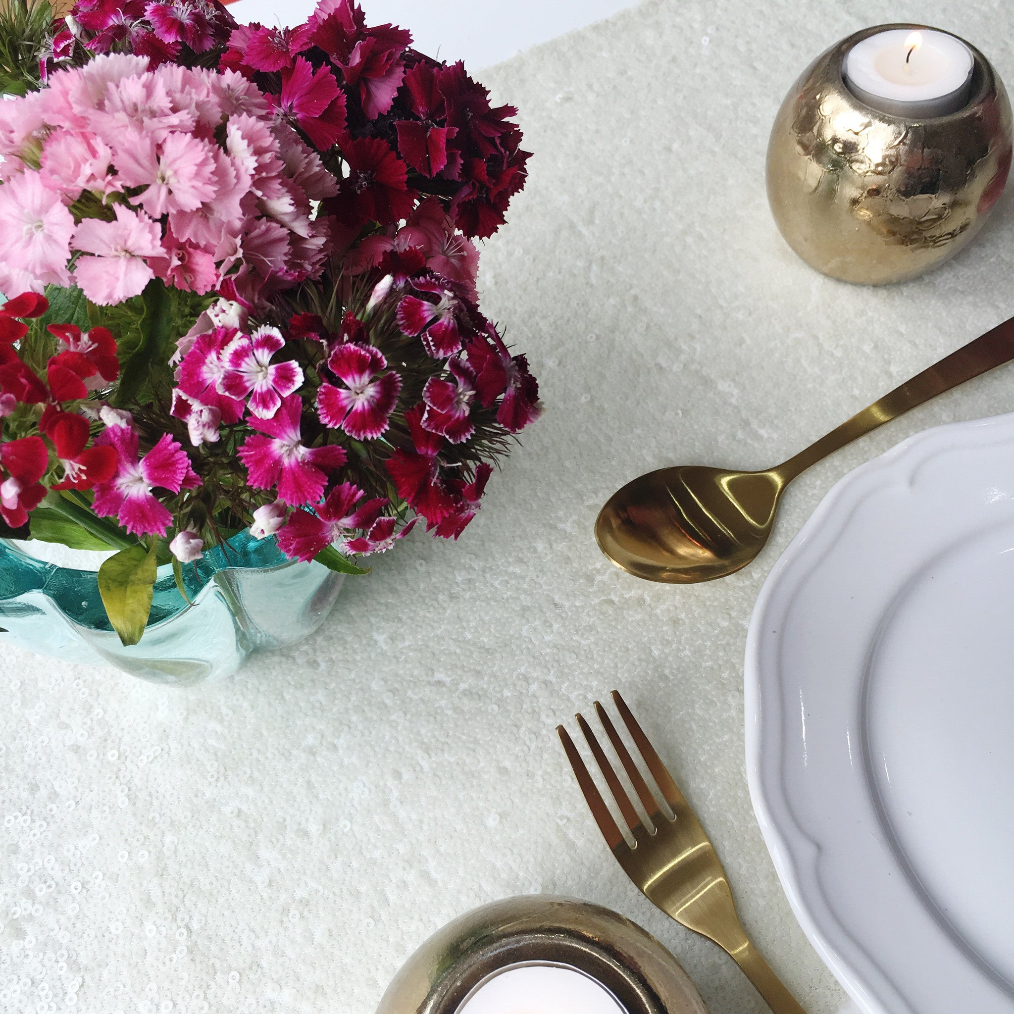 Ivory Sequin Table Linen - The Sweet Hostess