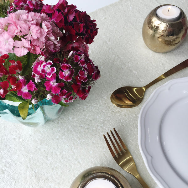 Ivory Sequin Table Linen