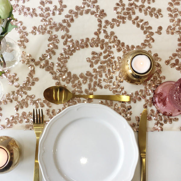 Rose Gold Floral Sequin Table Runner