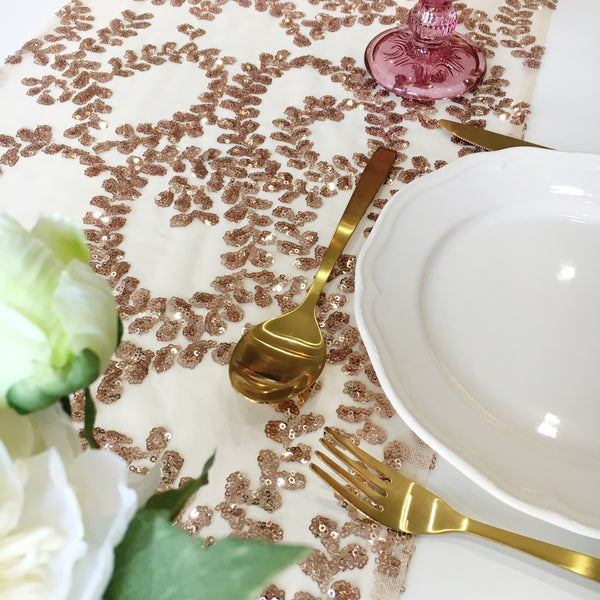 Rose Gold Floral Vine Sequin Table Linen
