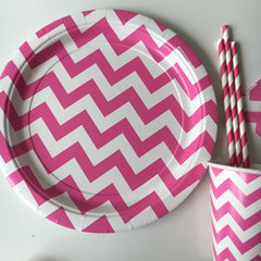 Pink Chevron Party Plates