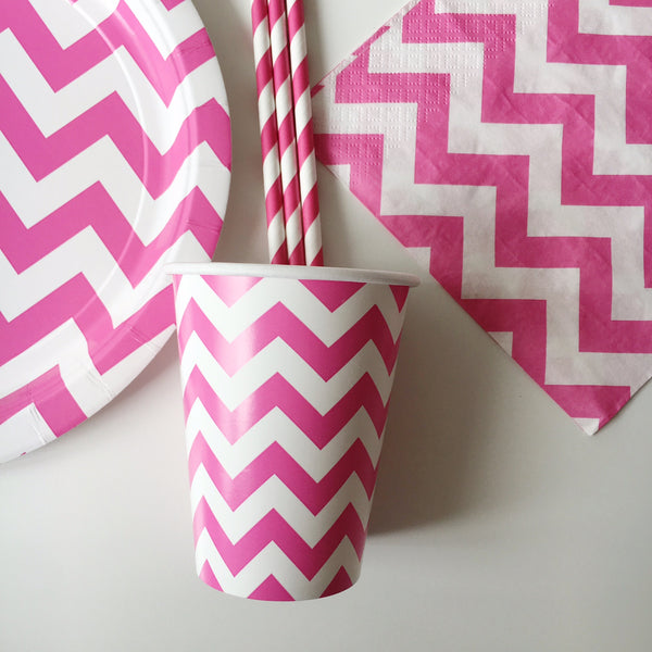 Pink Chevron Paper Cups