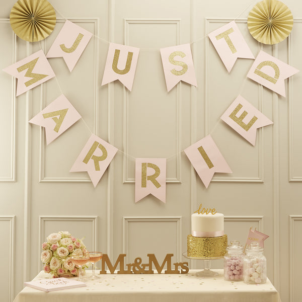 Pink & Gold Just Married Bunting
