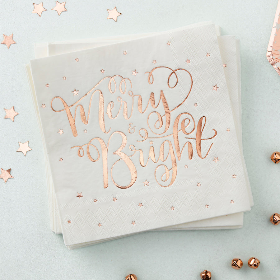 Rose Gold Foiled Merry And Bright Paper Napkins