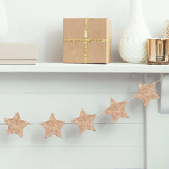 Wooden Rose Gold Glitter Star Garland