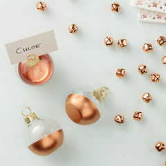 Rose Gold Dipped Glass Bauble Place Card Holders