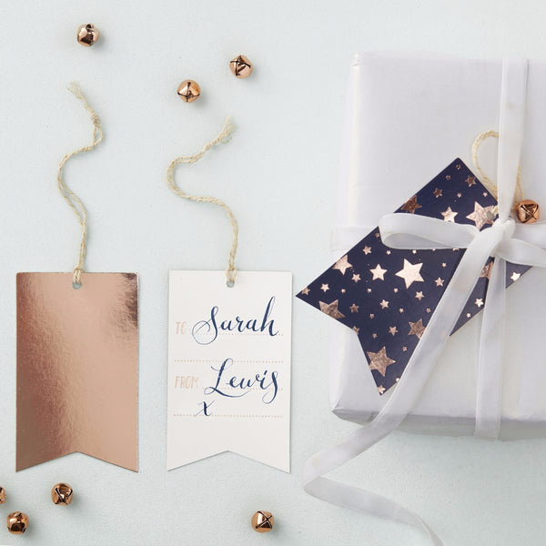 Navy And Rose Gold Foiled Gift Tags