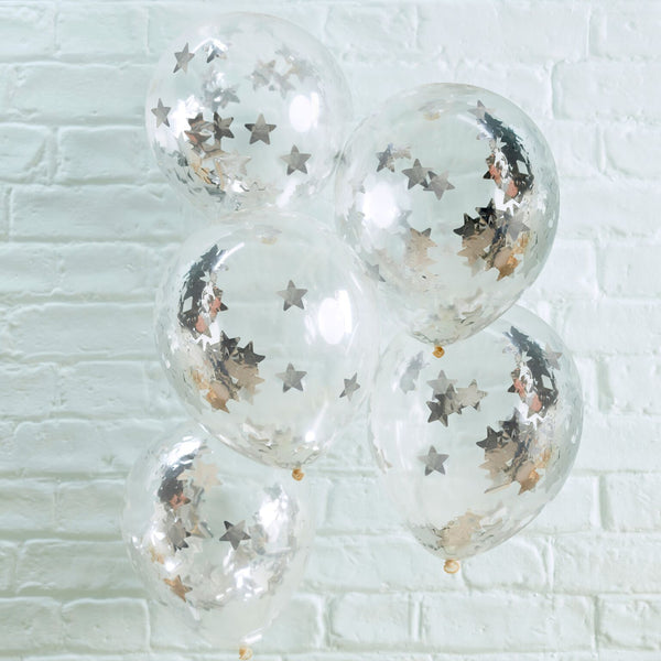 Silver Star Shaped Confetti Filled Clear Balloons