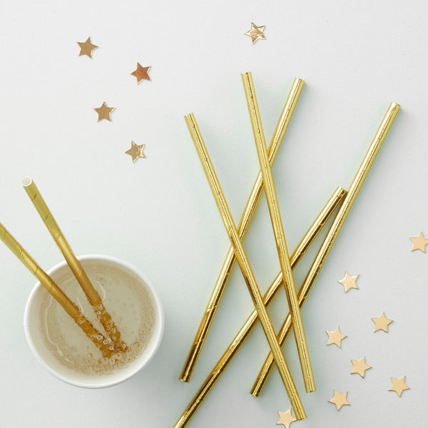 Gold Foiled Paper Straws