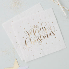 Gold Merry Christmas Metallic Napkins - The Sweet Hostess