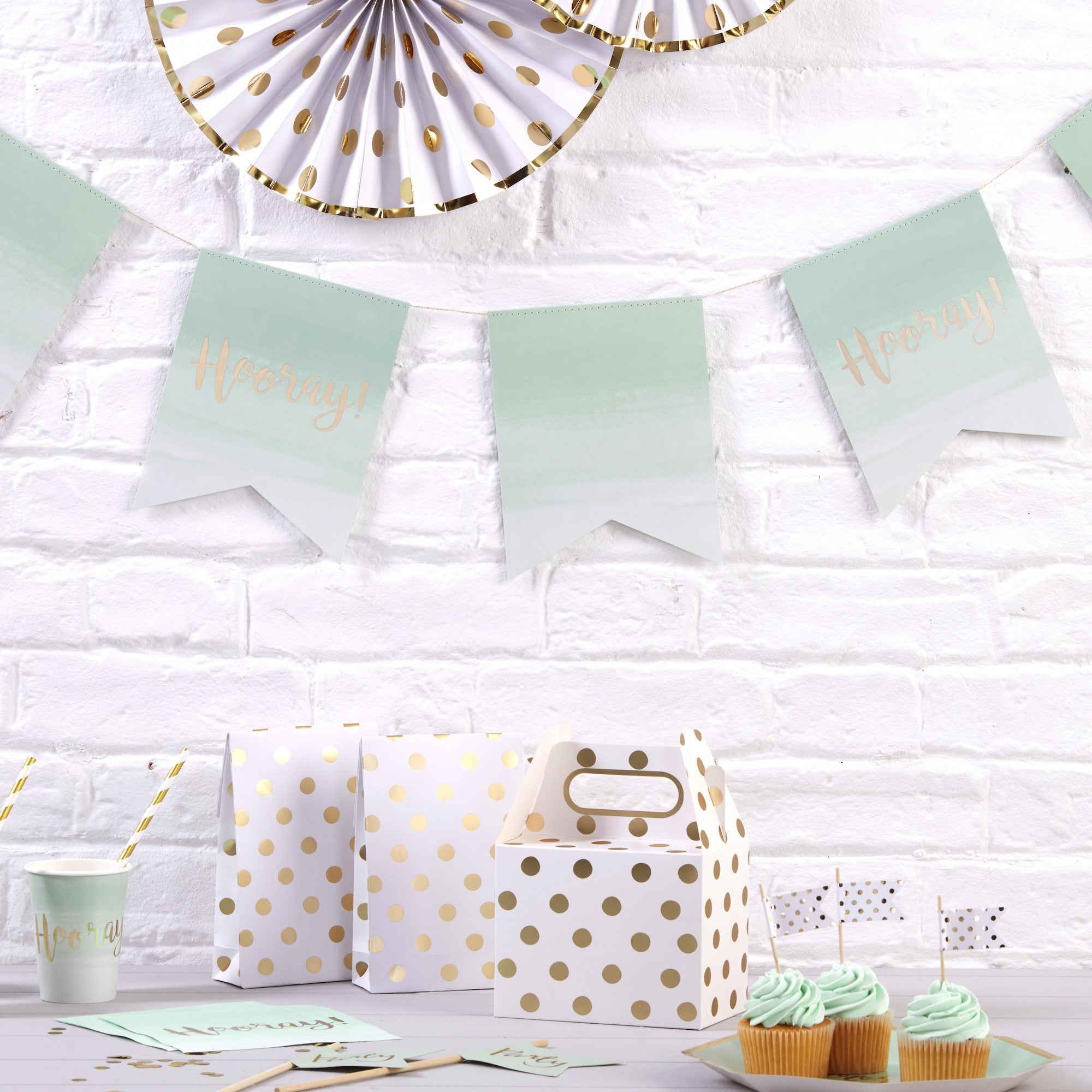 Hooray Mint Green Ombre & Gold Paper Bunting