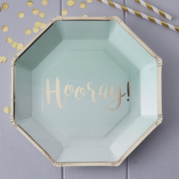 Mint & Gold Foiled Hooray Paper Plates