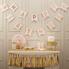Pink & Gold Birthday Bunting
