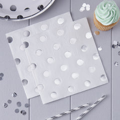 Silver Polka Dot Napkins - The Sweet Hostess