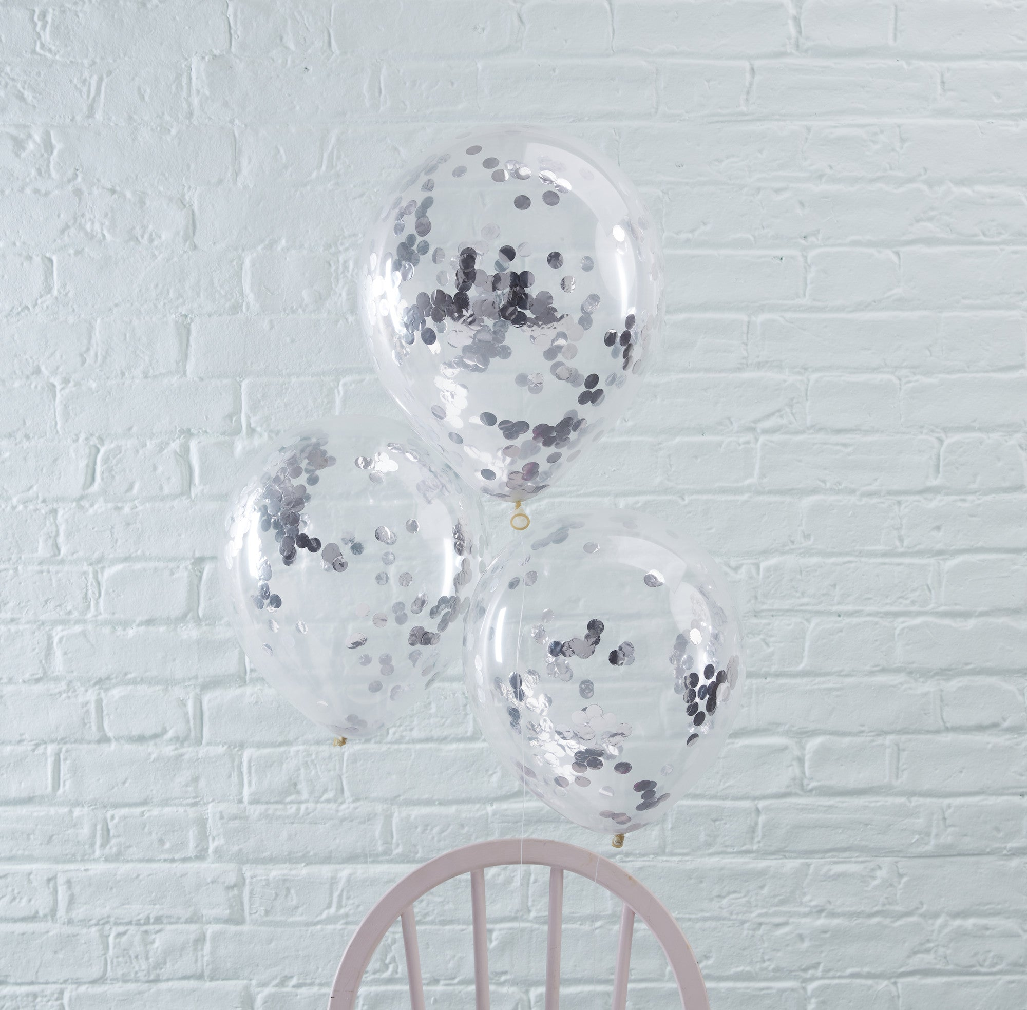 Silver Confetti Filled Balloons 5 Pack - The Sweet Hostess  - 1