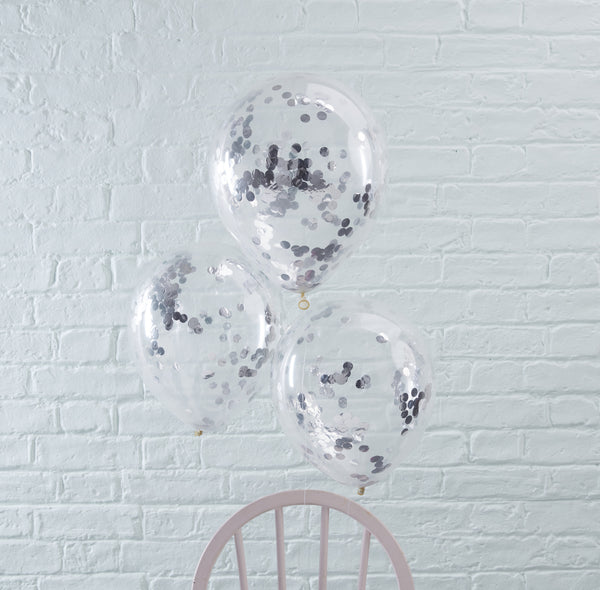 Silver Confetti Filled Balloons 5 Pack