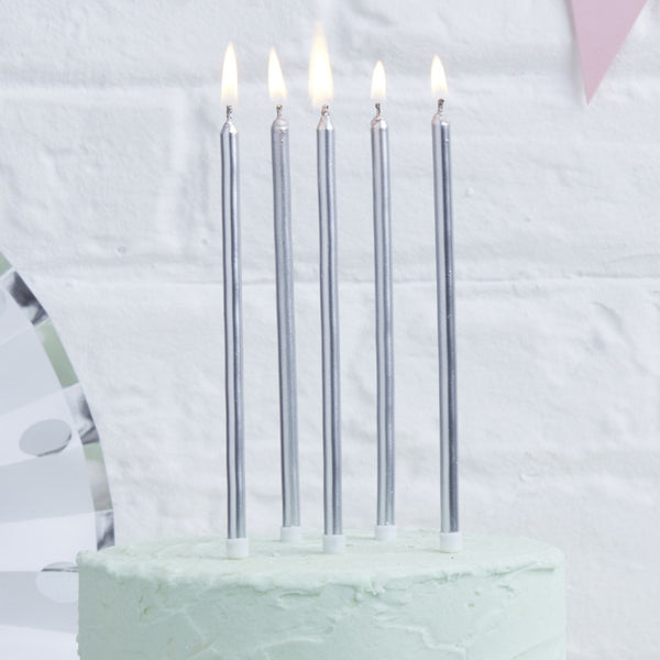 Silver Tall Candles
