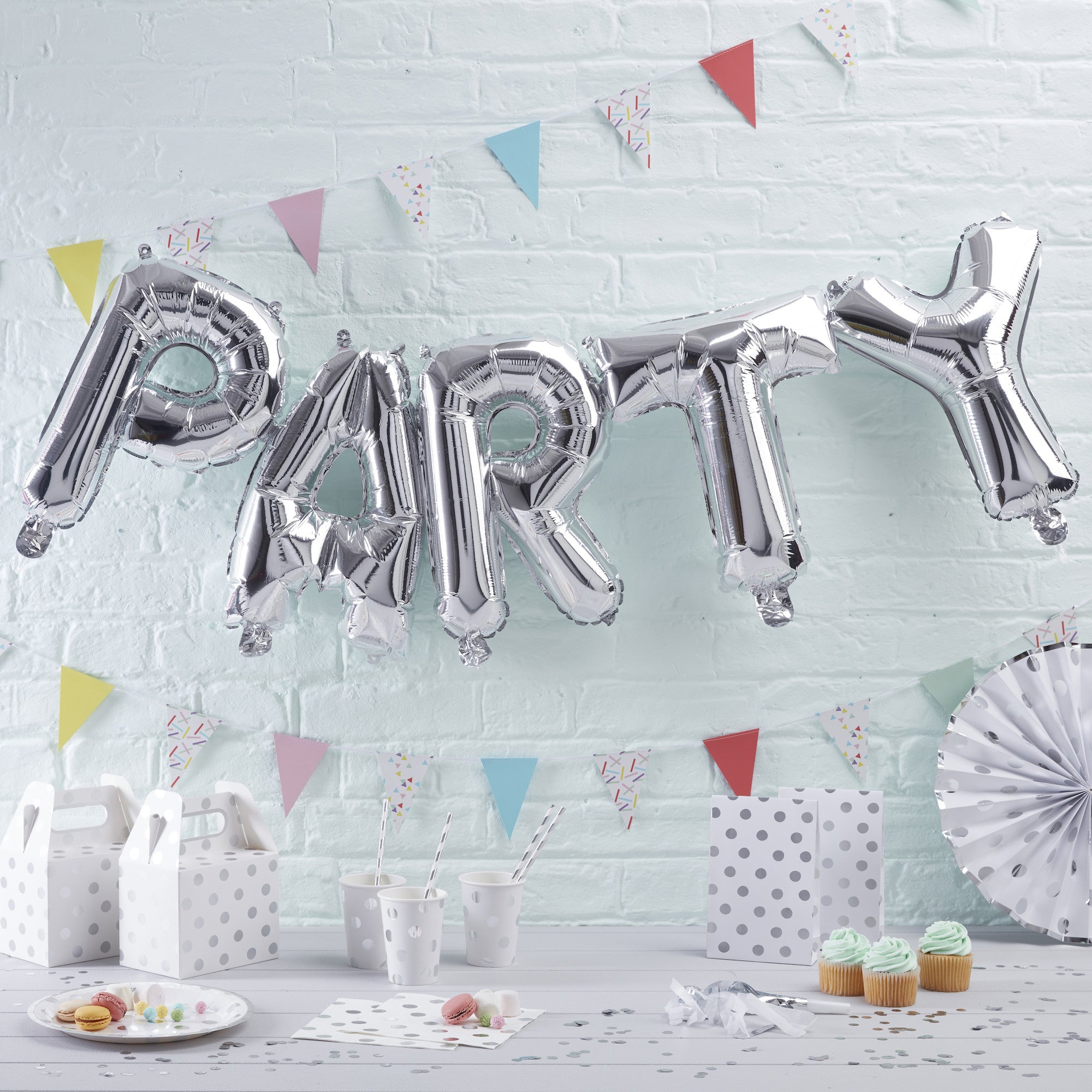 Silver PARTY Balloon Bunting - The Sweet Hostess