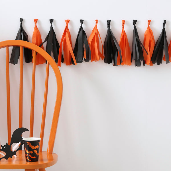 Orange And Black Tassel Garland