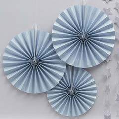 Blue Paper Fans - 3 pack - The Sweet Hostess