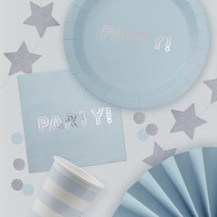 Blue & Silver Foil PARTY Plates - The Sweet Hostess  - 2