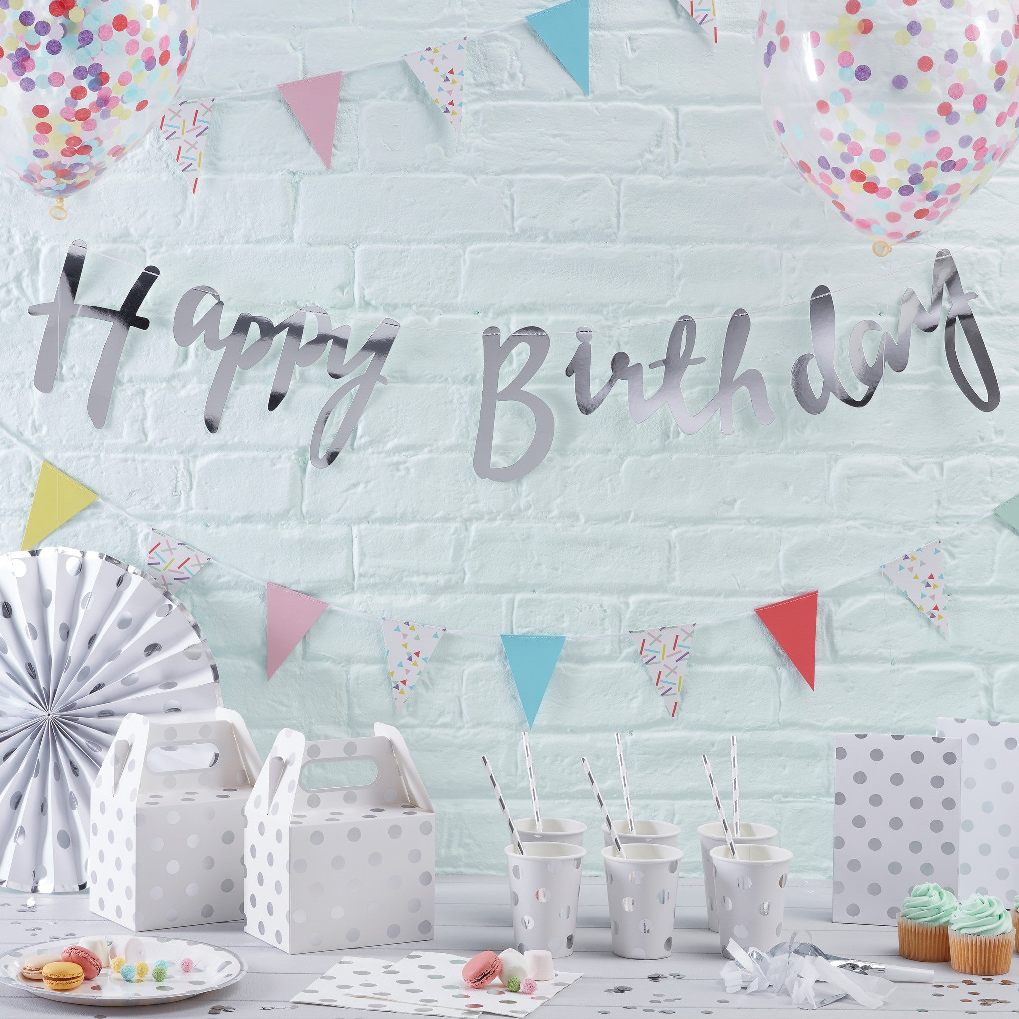 Silver Happy Birthday Banner Bunting - The Sweet Hostess