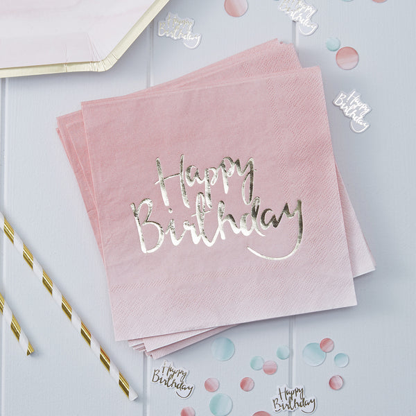 Gold Foiled Pink Birthday Paper Napkins