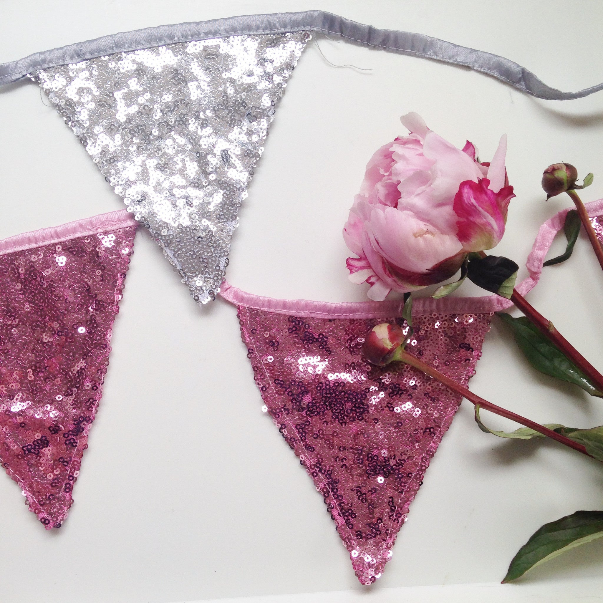 Rose Pink Sequin Bunting - The Sweet Hostess