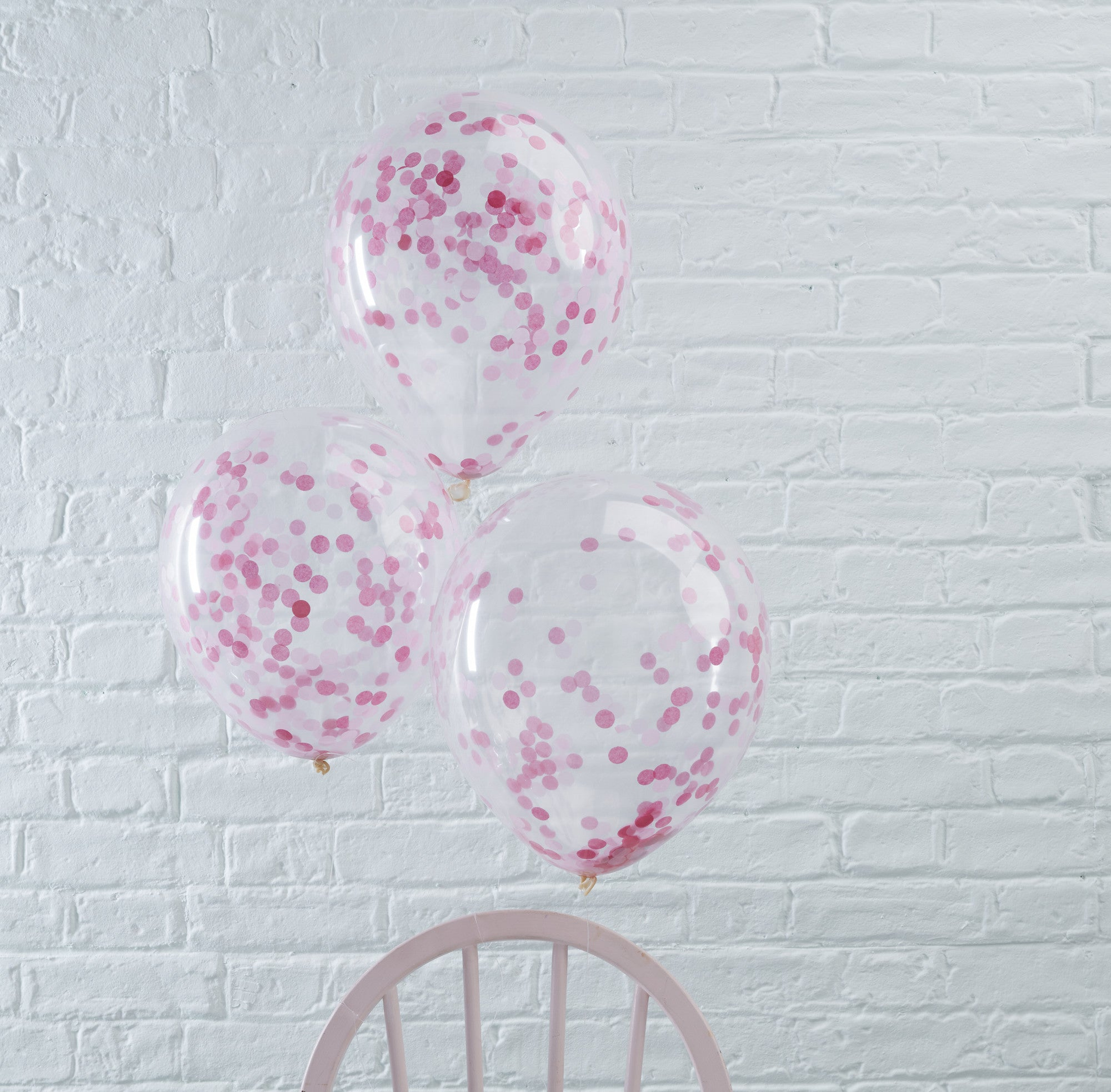 Pink Confetti Filled Balloons 5 Pack - The Sweet Hostess  - 1
