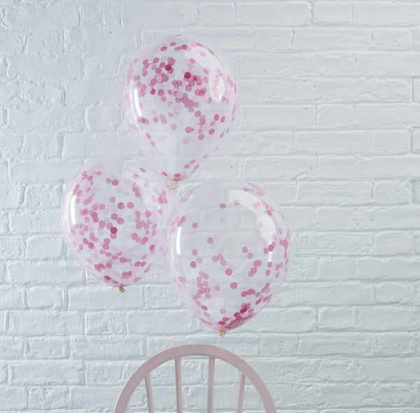 Pink Confetti Filled Balloons 5 Pack