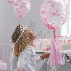 Pink Confetti Filled Balloons 5 Pack - The Sweet Hostess  - 2