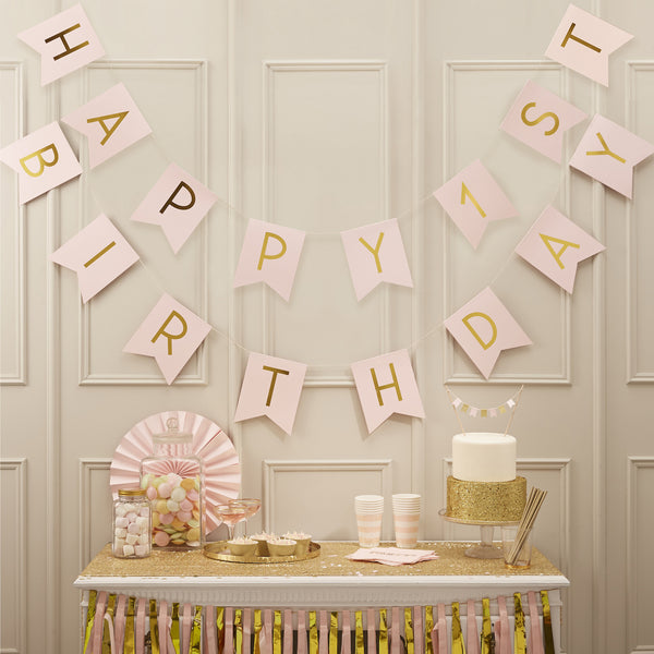 Happy 1st Birthday Pink & Gold Bunting
