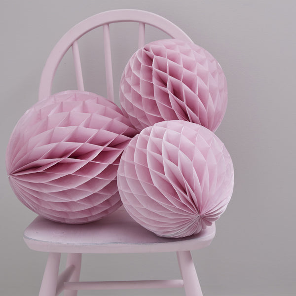 Pink Honeycomb Ball Decorations X 3