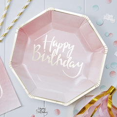 Pink Happy Birthday Plates with Gold Foil