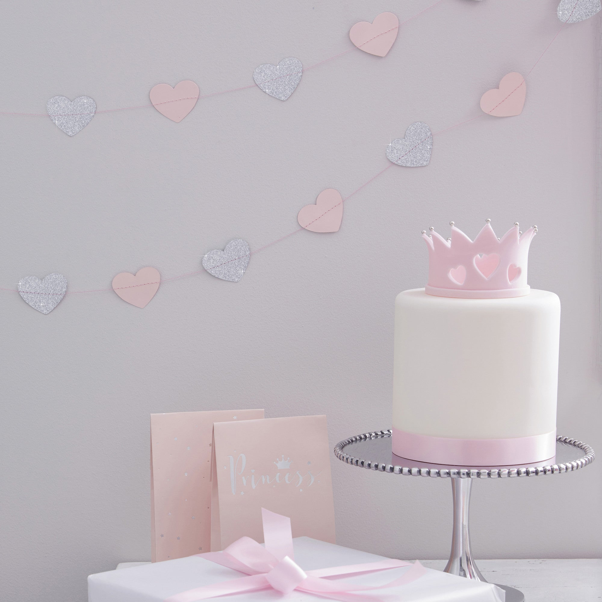 Pink & Silver Glitter Heart Garland - The Sweet Hostess  - 1