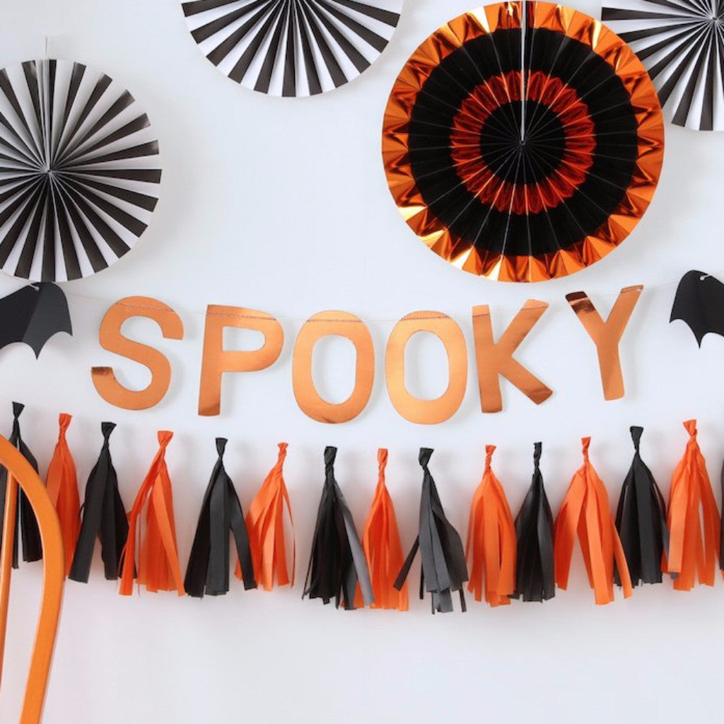 Orange Foil Spooky Bunting