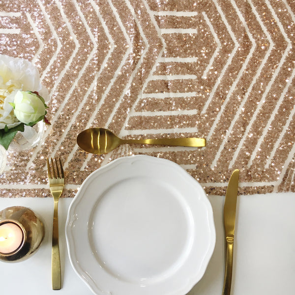 Rose Gold Geometric Sequin Table Runner
