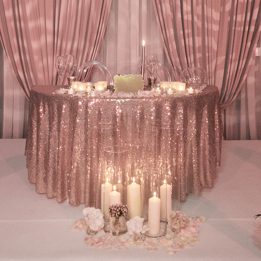 Rose Gold Sequin Table Linen The Sweet Party Shop