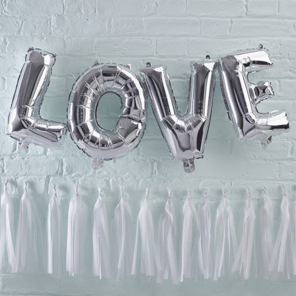 "Silver Love Balloon 14"" Bunting"