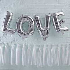 Silver Love Balloon Bunting - The Sweet Hostess