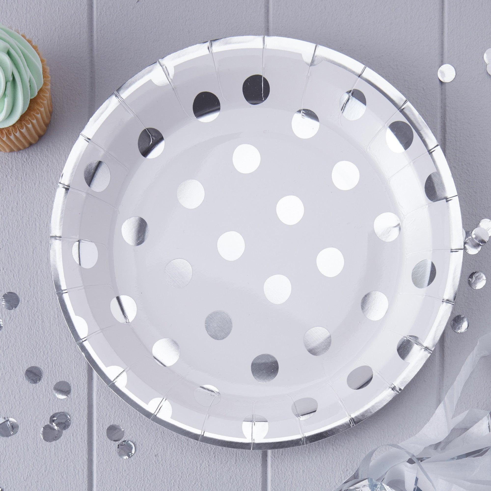 Silver Foiled Polka Dot Paper Plates - The Sweet Hostess